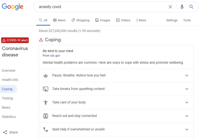 "screenshot of Google search for ""anxiety covid"""